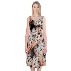 Dots Leaves Background  Midi Sleeveless Dress by amphoto
