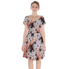 Dots Leaves Background  Short Sleeve Bardot Dress by amphoto