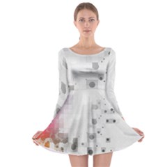 Squares Colorful Spots  Long Sleeve Skater Dress by amphoto