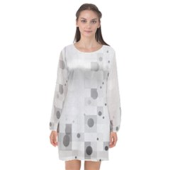 Squares Colorful Spots  Long Sleeve Chiffon Shift Dress  by amphoto