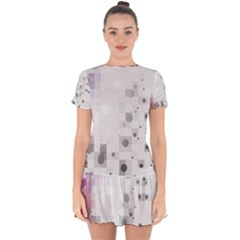 Squares Colorful Spots  Drop Hem Mini Chiffon Dress by amphoto
