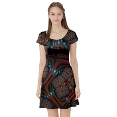 Surface Grid Lines  Short Sleeve Skater Dress by amphoto