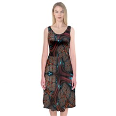 Surface Grid Lines  Midi Sleeveless Dress by amphoto