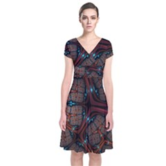 Surface Grid Lines  Short Sleeve Front Wrap Dress by amphoto
