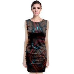 Surface Grid Lines  Sleeveless Velvet Midi Dress by amphoto