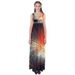 Plexus Background Colorful  Empire Waist Maxi Dress by amphoto