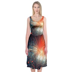Plexus Background Colorful  Midi Sleeveless Dress by amphoto