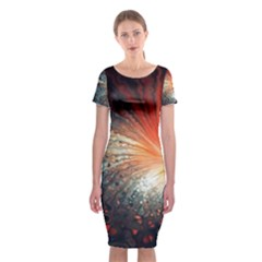 Plexus Background Colorful  Classic Short Sleeve Midi Dress by amphoto