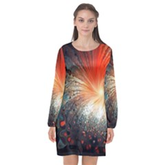 Plexus Background Colorful  Long Sleeve Chiffon Shift Dress  by amphoto