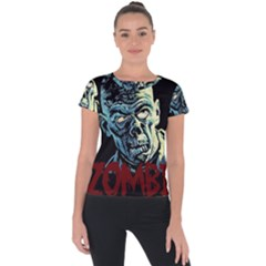Zombie Short Sleeve Sports Top  by Valentinaart
