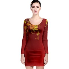 Fire Effect Background  Long Sleeve Bodycon Dress by amphoto