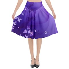 Flowers Plants Lines  Flared Midi Skirt by amphoto