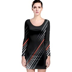 Line Broken Dark Background  Long Sleeve Bodycon Dress by amphoto