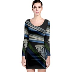 Stripes Waves Bright  Long Sleeve Bodycon Dress by amphoto