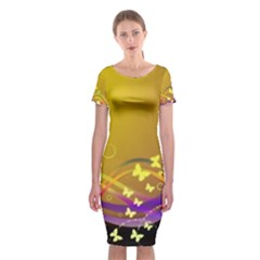 Patterns Waves Butterfly Classic Short Sleeve Midi Dress by amphoto