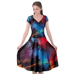Stains Paint Background  Cap Sleeve Wrap Front Dress by amphoto
