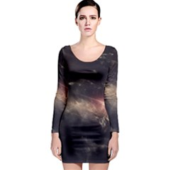 Face Light Profile Long Sleeve Bodycon Dress by amphoto