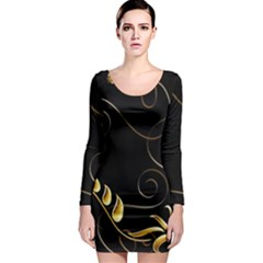 Patterns Butterfly Black Background  Long Sleeve Bodycon Dress by amphoto