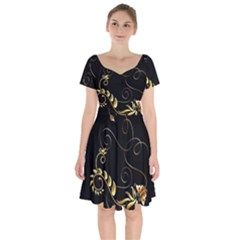 Patterns Butterfly Black Background  Short Sleeve Bardot Dress by amphoto