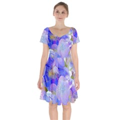 Flowers Abstract Colorful  Short Sleeve Bardot Dress by amphoto