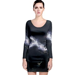 453 Electric Current Metal  Long Sleeve Bodycon Dress by amphoto