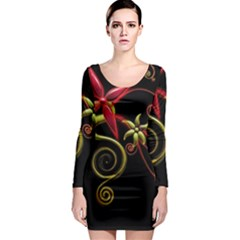 Flower Patterns Background  Long Sleeve Bodycon Dress by amphoto