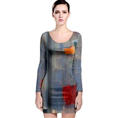 Abstract Paint Stain  Long Sleeve Bodycon Dress by amphoto