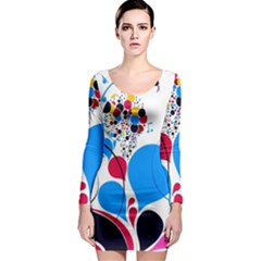 Patterns Colorful Bright  Long Sleeve Bodycon Dress by amphoto