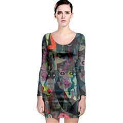 Psychedelic Abstraction Pattern  Long Sleeve Bodycon Dress by amphoto