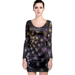 Fractal Patterns Dark Long Sleeve Bodycon Dress by amphoto