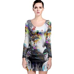Abstraction Painting Girl  Long Sleeve Bodycon Dress by amphoto