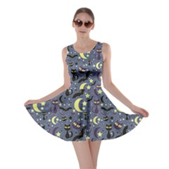 Blue Cute Pattern Night Life Cats And Bats Skater Dress by CoolDesigns