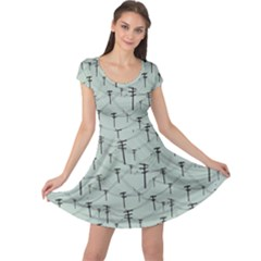Telephone Lines Repeating Pattern Cap Sleeve Dress