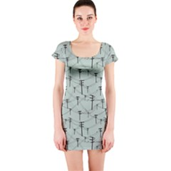 Telephone Lines Repeating Pattern Short Sleeve Bodycon Dress