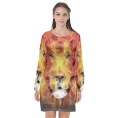 Fractal Lion Long Sleeve Chiffon Shift Dress  by Nexatart