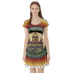 Building Mandala Palace Short Sleeve Skater Dress