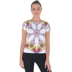 Colorful Chromatic Psychedelic Short Sleeve Sports Top  by Nexatart