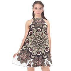 Mandala Pattern Round Brown Floral Halter Neckline Chiffon Dress  by Nexatart