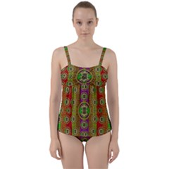 Rainbow Flowers In Heavy Metal And Paradise Namaste Style Twist Front Tankini Set by pepitasart