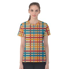 Plaid Pattern Women s Cotton Tee by linceazul