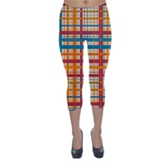 Plaid Pattern Capri Winter Leggings  by linceazul