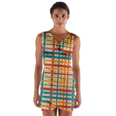 Plaid Pattern Wrap Front Bodycon Dress by linceazul
