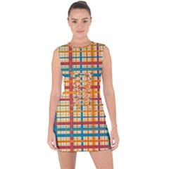Plaid Pattern Lace Up Front Bodycon Dress by linceazul