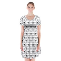 Skull Digital Paper Short Sleeve V Neck Flare Dress by stockimagefolio1