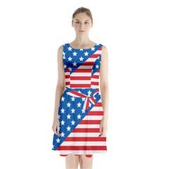 Usa Flag Sleeveless Waist Tie Chiffon Dress by stockimagefolio1