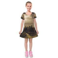 Borobudur Temple Indonesia Kids  Short Sleeve Velvet Dress by Nexatart