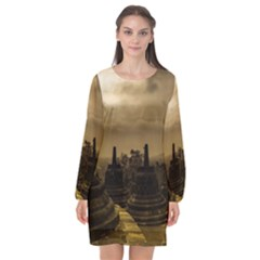 Borobudur Temple Indonesia Long Sleeve Chiffon Shift Dress