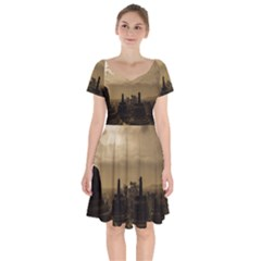 Borobudur Temple Indonesia Short Sleeve Bardot Dress by Nexatart