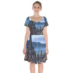 Borobudur Temple  Morning Serenade Short Sleeve Bardot Dress