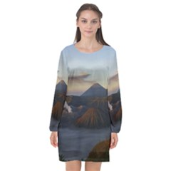 Sunrise Mount Bromo Tengger Semeru National Park  Indonesia Long Sleeve Chiffon Shift Dress  by Nexatart